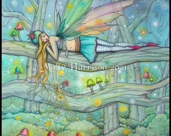 """Original Fairy Watercolor Painting- """"Enchanted Forest"""" - Fairy Sprinkling Magic in a Colorful Mushroom Filled Forest - Fantasy Art"""