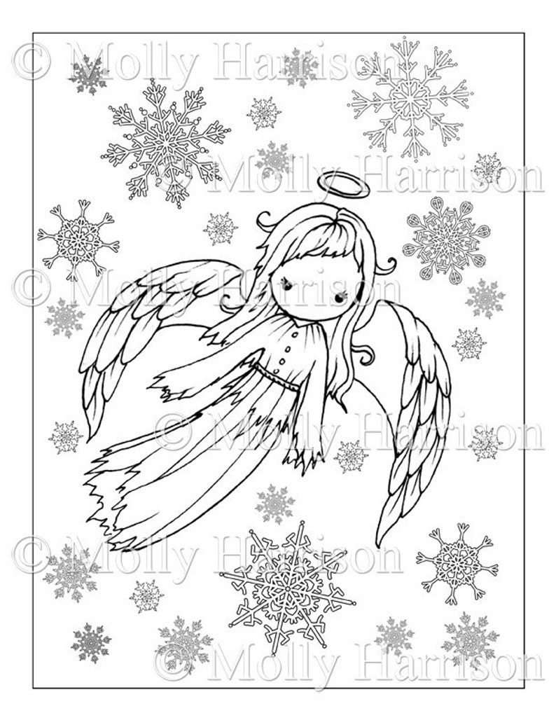 Angel Coloring Page Cute Angel In Snowflakes Printable Instant