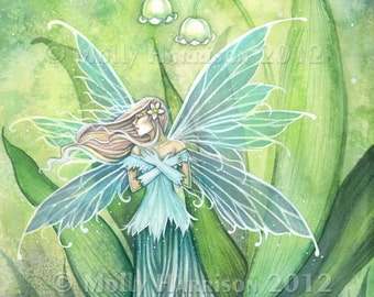 Fairy Print - Lily of the Valley Flower Fairy 5 x 7 Art by Molly Harrison