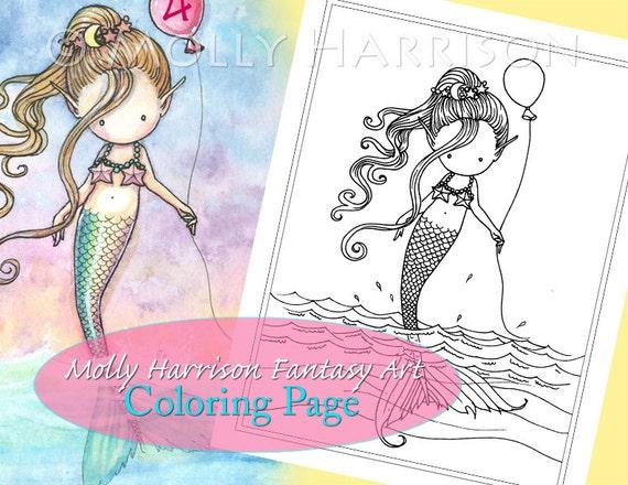 Sirena con globo página para colorear para imprimir | Etsy