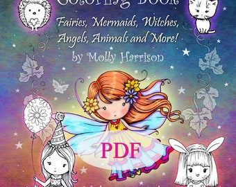 Printable Download - Whimsical World #5 Coloring Book by Molly Harrison - Sweet Fairies, Mermaids, Witches, Angels, Animals, and More