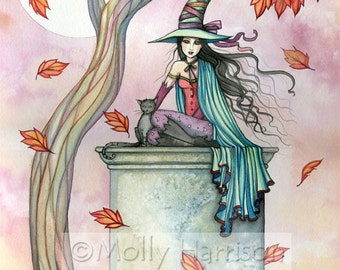 Witch and Cats Fine Art Print by Molly Harrison 'Agnes and Smoke'' 9 x 12 Giclee