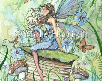 Busy Garden - Watercolor Flower Fairy  Illustration Fine Art Giclee Print - Molly Harrison Fantasy Art