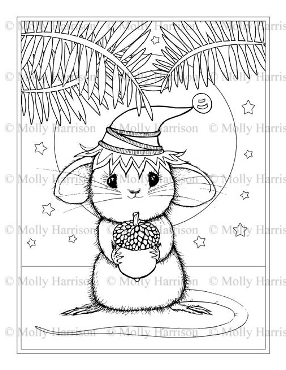Little Mouse With Acorn Coloring Page Printable Instant Etsy