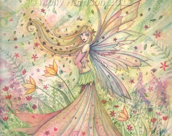 Fairy Print - Summer - Archival Fine Art Giclee Print 5 x 7 - Fairy Illustration by Molly Harrison - Pastel Tones - Art for Girls Room