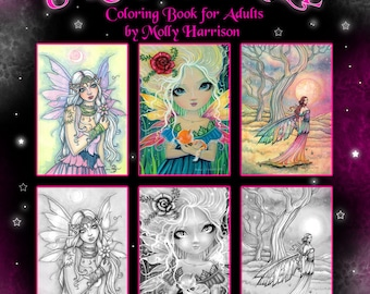 NEW! Magical Fairy World GRAYSCALE Artist Edition Coloring Book on Card Stock - Top Spiral Bound - Fairies, Mermaids More!  Molly Harrison