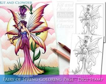 Kit and Clowder RESERVED listing  -  Fairy of Spring - Digital Stamp - Printable - Flower Fairy Art - Molly Harrison Fantasy Art