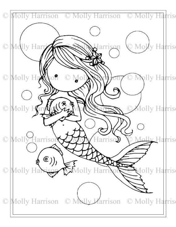 Ingenio de sirena peces y burbujas página para colorear | Etsy