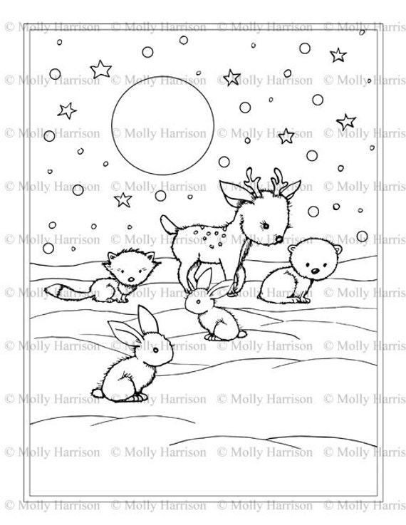 winter animal coloring pages Little Winter Animals coloring page Printable Instant | Etsy winter animal coloring pages