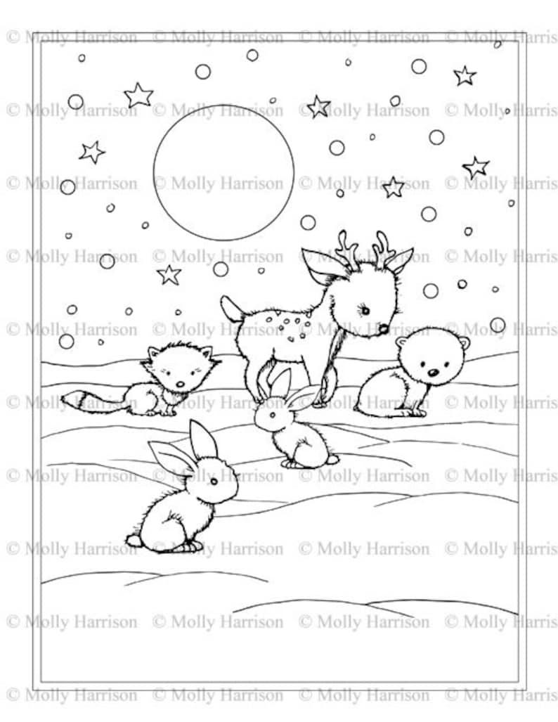 Małe Zwierzęta Zima Kolorowanki Nadający Się Do Wydruku Etsy