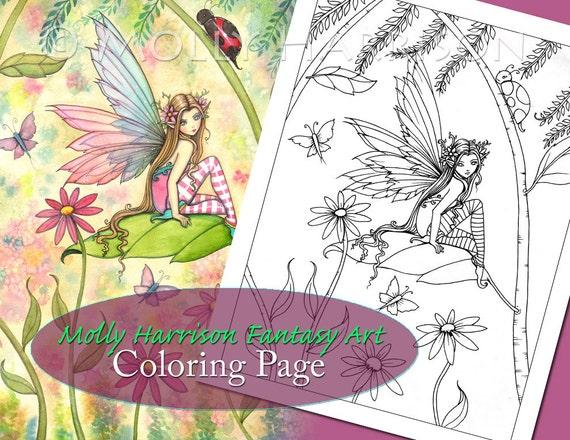 Spring Magic - Digital Stamp - Printable - Flower Fairy Art - Molly  Harrison Fantasy Art - Digistamp Coloring Page - Digi Stamp