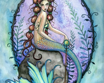 Mermaid Fairy Fine Art Print 9 x 12 'Remembrance' Fantasy Watercolor by Molly Harrison