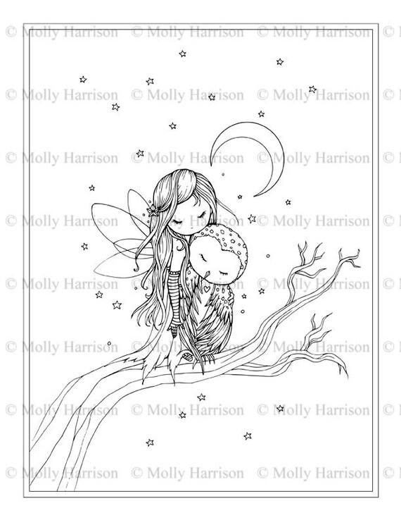 Pequeñas hadas buho estrellas Luna página para colorear | Etsy