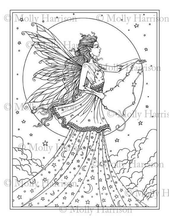 Hemelse Godin Kleurplaat Printable Fantasy Fairy Art Etsy