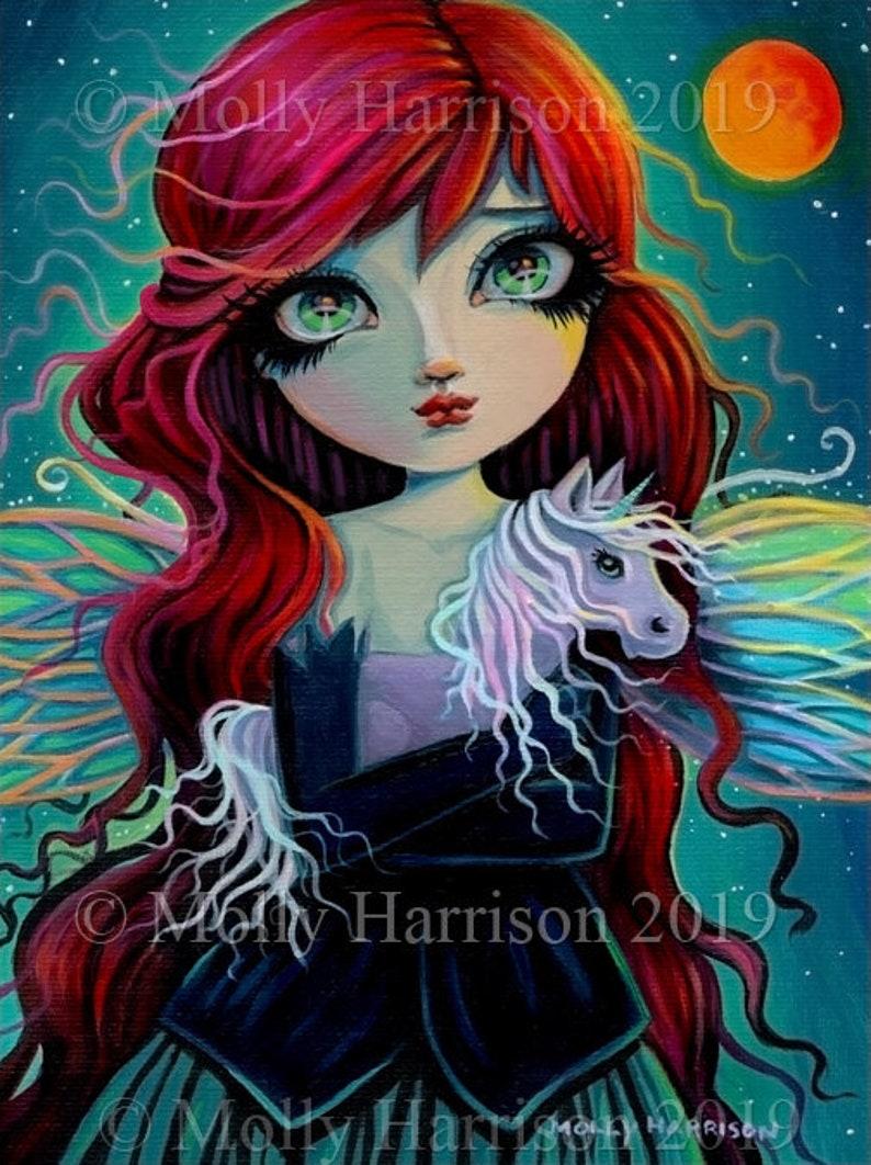 Fairy and Amethyst Unicorn Art  Original Acrylic Painting by image 0