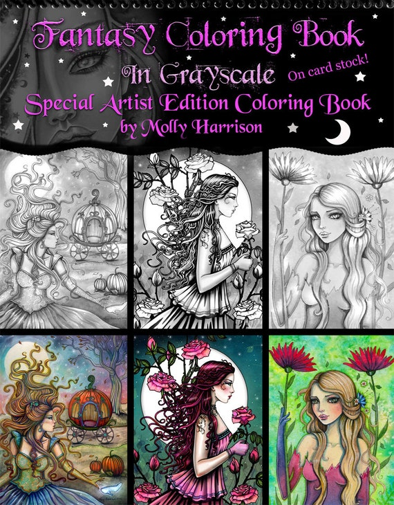 Special Artist Edition Coloring Book - Fantasy Coloring Book in Grayscale -  Top Spiral Bound on Card Stock - Fairies, mermaids, maidens