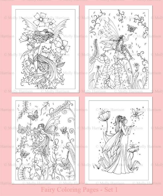 IMPRIMIBLE flores hadas colorear Set 1-4 flores hadas | Etsy