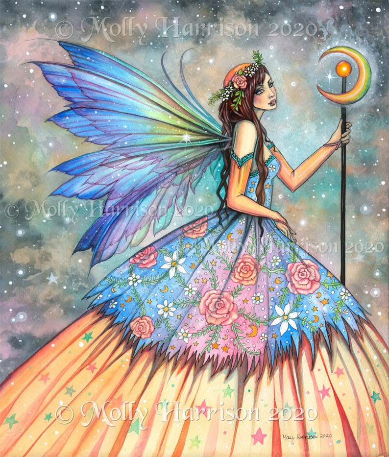 Original Fairy Painting  A Faerie Queen  Watercolor image 0