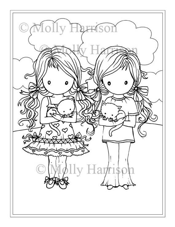 Dos niñas con gatitos página para colorear para imprimir   Etsy