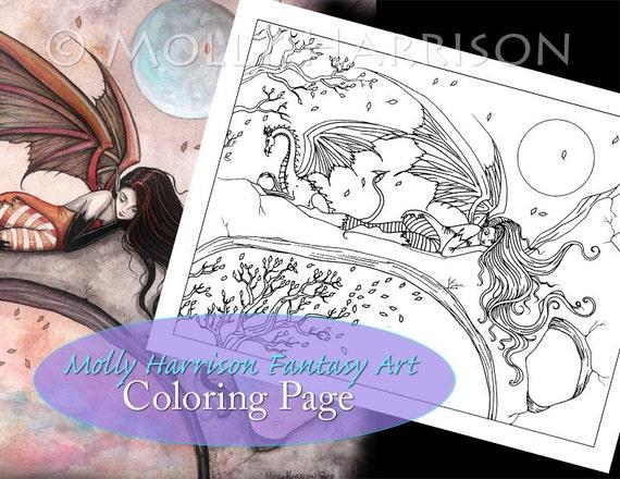 Autumn Fairy Dragon página para colorear para imprimir   Etsy
