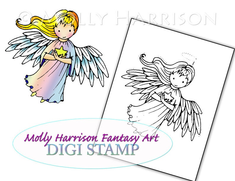 image about Printable Angels called Tiny Star Angel - Electronic Stamp - Printable - Angels - Molly Harrison Myth Artwork - Digi Stamp Coloring Website page - Instantaneous Obtain