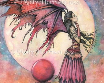Original Fairy Watercolor Painting- Nightfall - Molly Harrison Fantasy Art 12 x 16 inches on Heavy Watercolor Paper