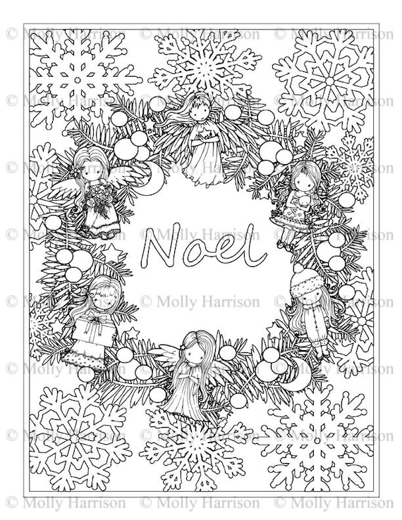 Couronne De Noel De Noel Avec Des Poupees Coloriage Imprimer Etsy
