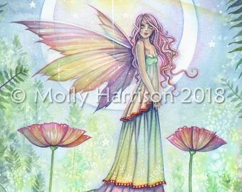 Wishing Star - Flower Fairy Art - 8 x 10 Fine Art Giclee Archival Print by Molly Harrison