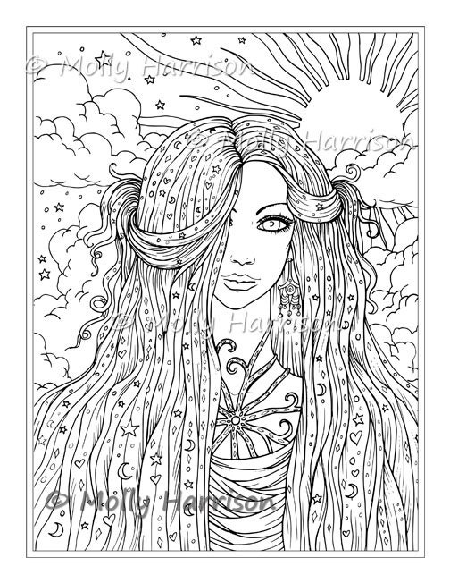 Sun Moon Stars Digital Stamp Printable Hippie Celestial   Etsy