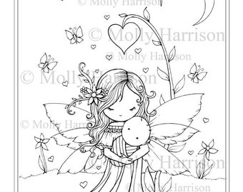 Sweet Mama and Baby - Printable Coloring Page - Mother and Baby Fairy - Molly Harrison Fantasy Art - Instant Download