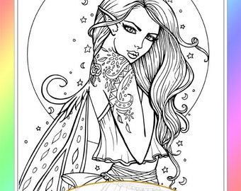 Bohemian Fairy Moon - Instant Download - Digital Stamp - Digistamp -  Printable - Molly Harrison - fantasy art, mystical, moon