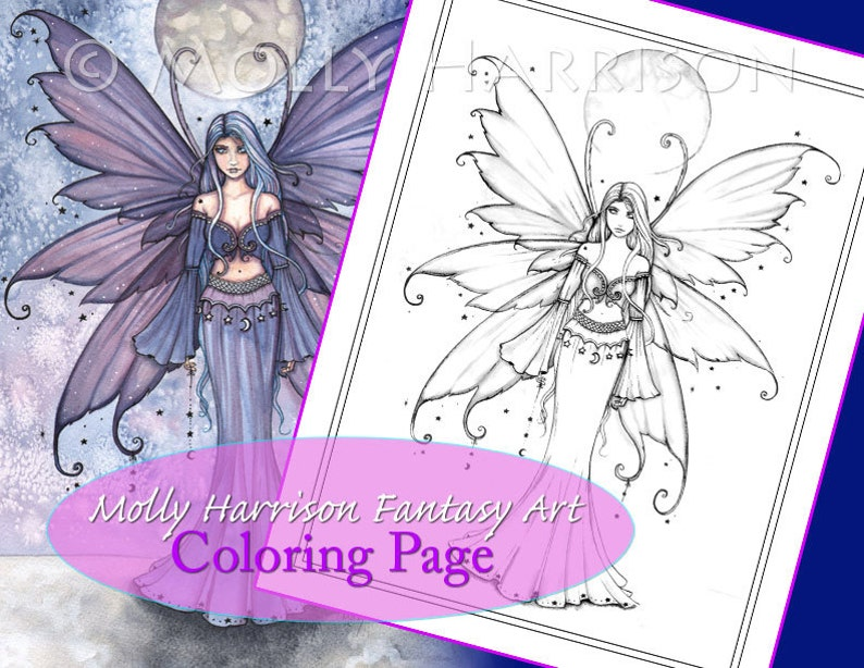 Coloriage Fee Bleue.Decembre Bleu Coloriage Imprimable Fantasy Fee Art Etsy