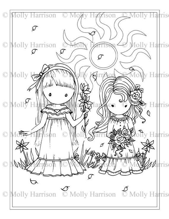 Flores para las niñas página para colorear para imprimir | Etsy