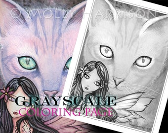 Cat and  Fairy - Instant Download Printable Fairy and Kitty GRAYSCALE coloring page by Molly Harrison -  8.5 x 11 JPG file