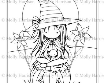 Tiny Witch and Cat 2 - Coloring Page - Printable - Whimsical Fun Witch - Jack-o-lantern - Molly Harrison Fantasy Art - Instant Download