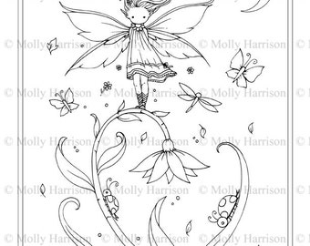 Tiny Flower Fairy - Printable Coloring Page - Whimsical, Floral, Cute - Ladybug, Butterflies - Molly Harrison Fantasy Art - Instant Download