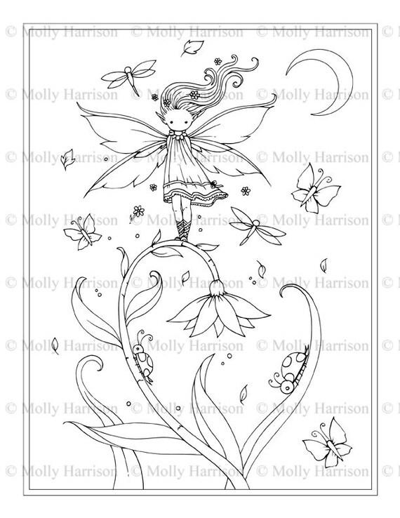 Hada de la flor pequeña para imprimir para colorear página | Etsy