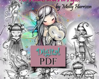 Printable Digital Download - Whimsical Wonders - A Grayscale Coloring Book for Adults and All Ages - Sweet Fairies, Mermaids, Witches