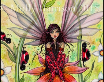 Ladybug Fairy - Original Watercolor Fine Art Giclee Print - Fantasy Art of Molly Harrison 9 x 12