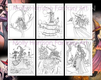 PRINTABLE -   6 Halloween Witch Cat Coloring Pages - Molly Harrison Instant Download - Adult Coloring pages