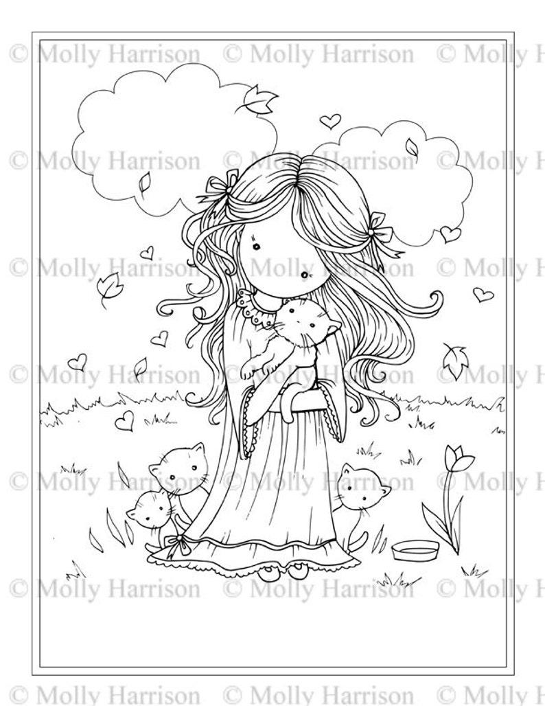 Niña Con Gatito Gato Para Colorear Para Imprimir Página Whimsical Floral Lindo Molly Harrison Fantasy Art Descarga Inmediata