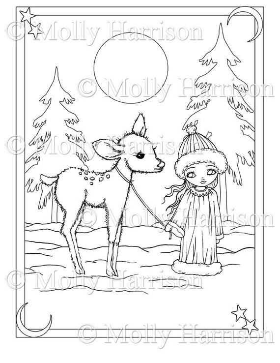 Niña y cervatillo en nieve página para colorear para | Etsy
