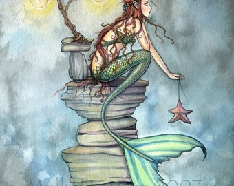 Mermaid Fantasy Watercolor Fine Art Print by Molly Harrison 'The 'Mermaid's Perch' 9 x 12 Giclee