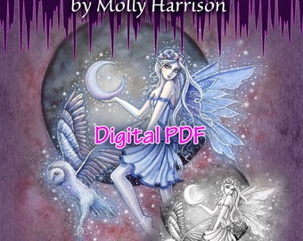 The Enchanted Fairy Grayscale - PRINTABLE Digital PDF 25 Pages and JPG Files in Zip Folders-  Instant Download - Molly Harrison