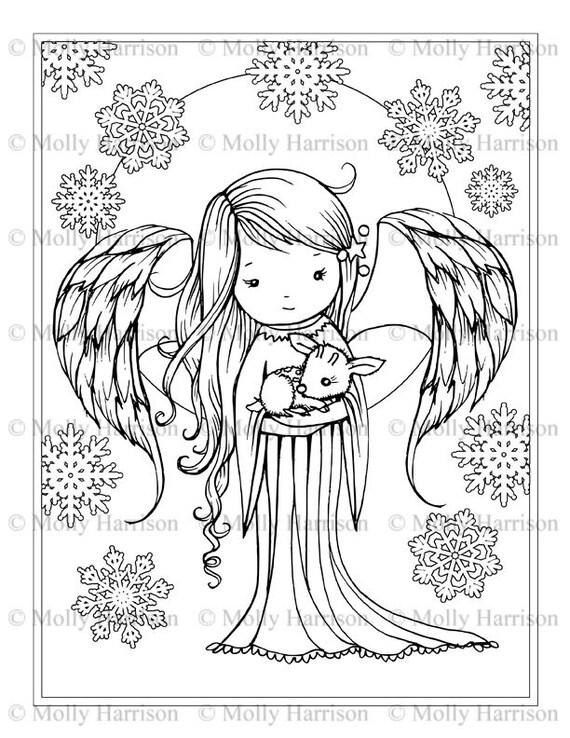Ángel sosteniendo pequeña página para colorear Fawn | Etsy