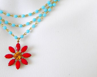 Vintage Swarovski Ruby Red Yellow  Flower Layered Blue Rosary Necklace