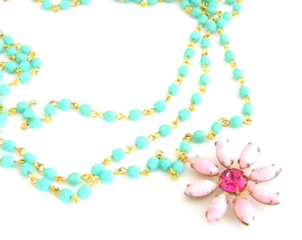 Vintage Glass Pink Flower Layered Turquoise Green Rosary Necklace