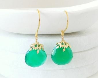 Green Onyx Earrings,  Emerald Green Earrings, Gemstone Earrings, Dangle Earrings, Green Drop, Green with Gold, Gold Leaf, Gift for Her