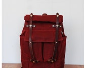 The Camper Satchel in Red Waxed Canvas
