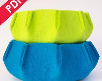 Sewing Pattern PDF - URCHIN 3mm Wool Felt Nesting Bowl Set